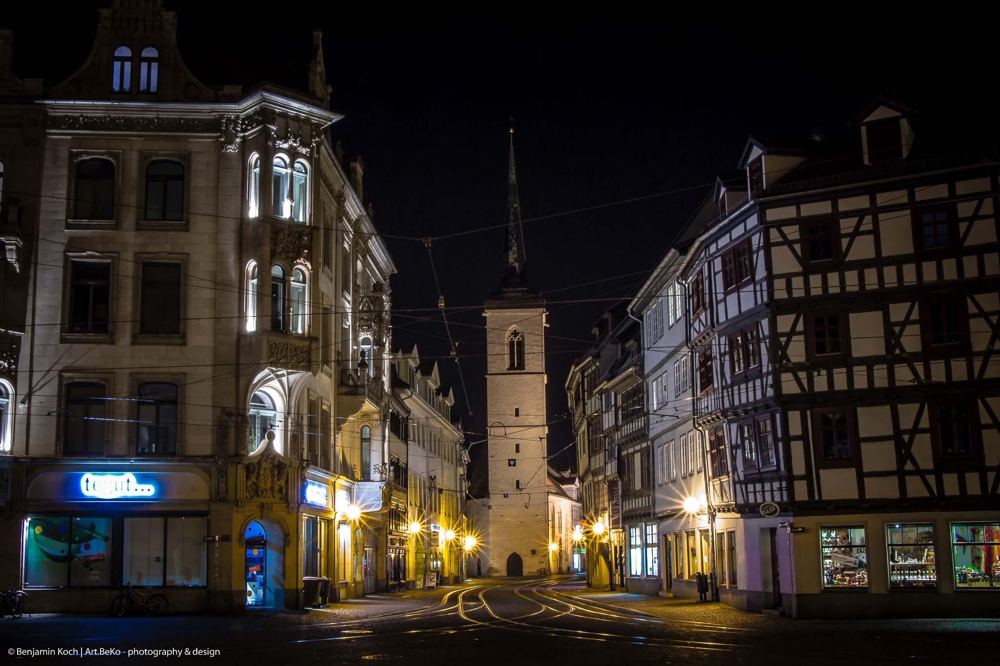 Fotografie Langzeitbelichtung Marktstraße Erfurt